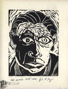 Linoleum Block Self-Portrait 1988 -2004 by Julia L. Kay, via Flickr
