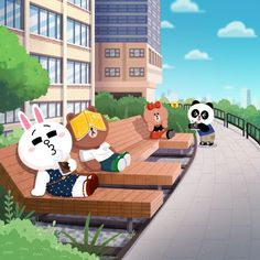 Line Friends Cute Love Pictures, Cute Love Gif, Cute Couple Cartoon, Cute Cartoon, Cartoon Town, Cony Brown, Brown Bear, Bunny And Bear, Brown Line