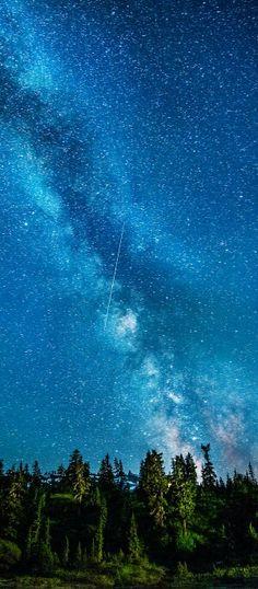 azul,la VíaLáctea,lanoche,estrellas