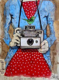 "Saatchi Art Artist Loui Jover; Drawing, ""blue flamingo"" #art"