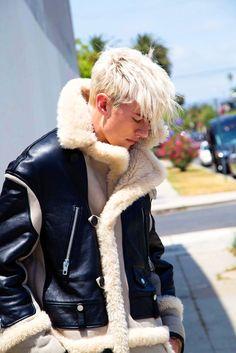 Man in Leather Sheepskin Shearling Jacket