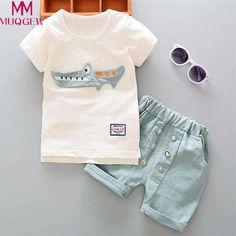 0ed60a3e196 2017 Summer Baby s Boys Short Sleeve O Neck T-Shirt Tops + Casual Shorts Kids  Clothing Sets Suits conjunto roupas de bebe - Kid Shop Global - Kids   Baby  ...