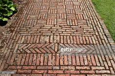 Stock Photo : Red brick path, block paving image, paved-pathway, basketweave / diamond pattern