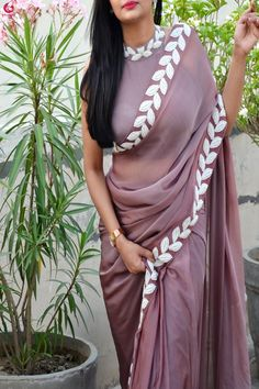 Buy Mauve Pearl Work Silk Chiffon Saree - Women Sarees Online in India Chiffon Saree, Saree Dress, Silk Chiffon, Saree Wearing Styles, Saree Styles, Saree Blouse Patterns, Saree Blouse Designs, Online Shopping Sarees, Sarees Online