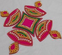Diya Shaped Acrylic Kundan Rangoli (Pink) at GlowRoad - Latest Design and High Quality. Diya Rangoli, Diwali Diya, Diwali Craft, Indian Rangoli, Flower Rangoli, Diwali Gifts, Rangoli Designs Images, Rangoli Designs Diwali, Beautiful Rangoli Designs