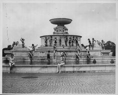 Contestants of the Miss Detroit beauty pagent, posing in front of the James Scott Fountain on Belle Isle in 1935. - photo via Detroiturbex.com