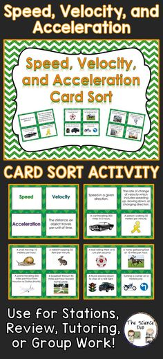 Speed, Velocity, and Acceleration interactive card sort activity.  Challenge your students to differentiate between these 3 types of motion.