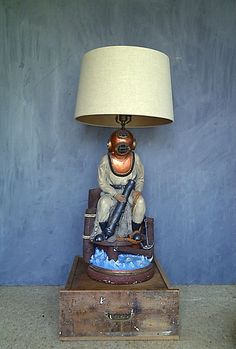 RARE Apsit Brothers Deep Sea Diver Table Lamp by cowboysandindie, $195.00