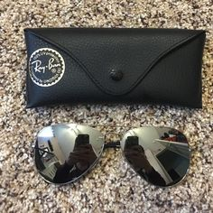 Reflective Grey Aviators from Ray Ban 100% Authentic. Purchased from Sunglasses Hut in San Francisco, CA. Classic Reflective Lenses. NOT Polarized. 58mm. Ships Immediately! WORN ONCE. No scratches. Comes with case and cleaning cloth. Ray-Ban Accessories Sunglasses