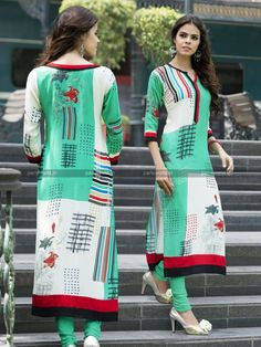 Green N Cream Rayon Cotton Lovely Designer Kurti