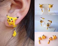 Pikachu Clinging Earrings by ~KittyAzura on deviantART