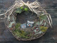 Woodland owl grapevine wreath