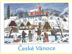 Czech Christmas postcard - illustration by Josef Lada