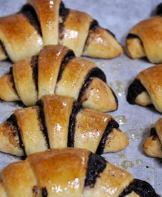 Note: This recipe is for yeast based rugelach that are more common in Israel. These rugelach are very different from the cheese cream dough based ones, and are just like little yeast cakes. Jewish Desserts, Jewish Recipes, No Bake Desserts, Dessert Recipes, Jewish Food, Slovak Recipes, Dinner Recipes, Israeli Food, Deserts