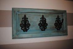 "Shabby Chic ""Provence Turqouise""  Upcycled  Cabinet Door Coat Rack on Etsy, $57.99"