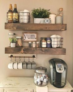 Wooden Shelves - - Display your style with this set of true floating shelves. The shelves come with brackets that are invisible when installed. They are made in the USA with high-grade pine. Each piece is its own creation with rustic character. Farmhouse Kitchen Decor, Kitchen Dining, Kitchen Shelf Decor, Farmhouse Design, Coffee Theme Kitchen, Coffee Station Kitchen, Wooden Shelves Kitchen, Antique Kitchen Decor, Diy Wood Shelves