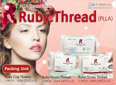 PLLA Thread lifting product ◈ Ruby Thread (PLLA) ◈ ▶Ruby Cog Thread : 1 PACK / 10EA (2PCS x 5) ▶Ruby Mono Thread : 1 PACK / 20EA (4PCS x 5) ▶Ruby Screw Thread : 1 PACK / 20EA (4PCS x 5) ☆Effect : Lifting & Wrinkles Removal Thread Lift, Cogs, Wrinkle Remover, Welcome, How To Remove, Medical, The Unit, Medicine, Med School