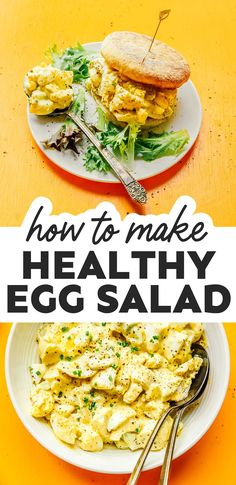 Amp up your protein with this Healthy Egg Salad recipe! In only 15 minutes, this 5-ingredient recipe is healthy, stupid easy, and SO delicious! It's a flavor packed vegetarian recipe that's great as an appetizer, breakfast, or lunch! #eggs #eggsalad #glutenfree #lowcarb