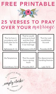 Free printable - 25 verses to pray over your marriage. First Year Of Marriage, Saving A Marriage, Happy Marriage, Marriage Advice, Love And Marriage, Quotes Marriage, Godly Marriage, Strong Marriage, Proverbs 22 29