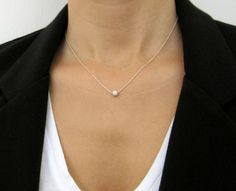 Dainty Silver Necklace -  silver circle necklace, simple silver necklace, minimalist necklace. $23.00, via Etsy.