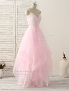 Pink v neck tulle long prom dress simple pink tulle evening dress
