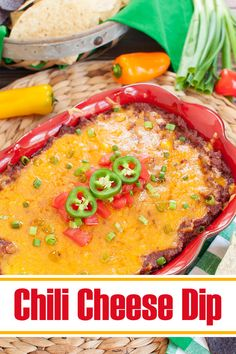 Cheesy, baked dip layered with cream cheese, chili and melted cheddar cheese. This easy chili cheese dip is the perfect appetizer or snack for game day, a potluck, holiday or party. Serve with tortilla chips, Fritos or even french fries. Can make ahead and then bake. #chili #appetizers #dips #gameday #potluck #snacks Chili Cheese Dips, Cream Cheese Dips, Cheddar Cheese, Game Day Appetizers, Appetizer Dips, Appetizer Recipes, Dip Recipes, Mexican Food Recipes, Ethnic Recipes
