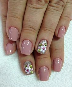 Spring Nails - 46 Best Spring Nails for 2018 - Hashtag Nail Art Ombre Nail Designs, Nail Art Designs, Nailart, Flower Nails, Easy Nail Art, Manicure And Pedicure, Glitter Pedicure, French Pedicure, Pedicure Ideas
