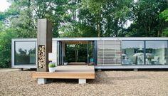 panorama prefab bungalow vlonder cortenstalen buitenhaard