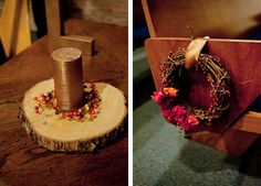 Wedding decor, including autumnal wreaths and tree slabs wrapped in colorful berries.