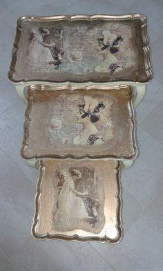 No ninho Mesas de encaixe recuperadas, pintadas de novo e aplicação de papel de arroz