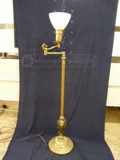 Stiffel Floor Lamp Torchiere Mogul Mid Century Brass Pole