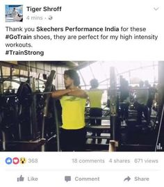2ed6487e9348 Bollywood Actor Tiger Shroff trains hard with Skechers Performance GoTrain