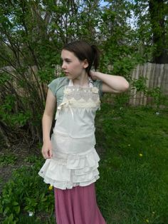 Linen and Lace Apron by DoodleBerry designs by Kathy.  $45 Multi layers of rustic and delicate lace, pocket hidden in lace.  ties at back and neck