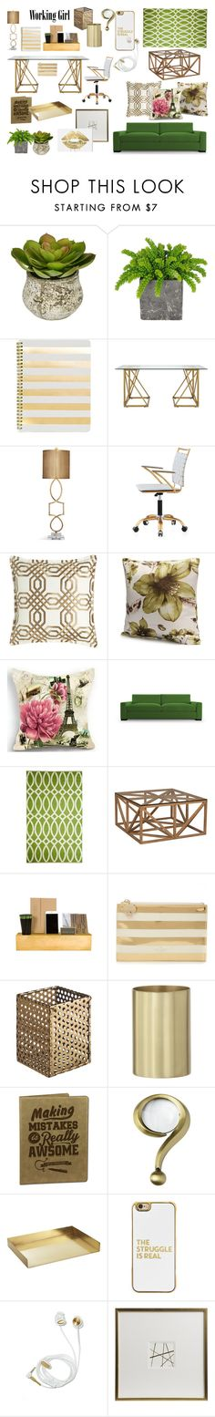 """""""Working in style"""" by maria-tamarindo on Polyvore featuring interior, interiors, interior design, home, home decor, interior decorating, Sugar Paper, Selamat, Kate Spade and Jayson Home"""