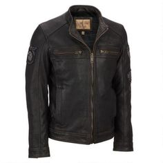 Wilsons Leather Vintage Embossed Cycle Leather Jacket w/ Patches $354.99                      Our Price Now:                                           $650.00                      Comp Value Was: