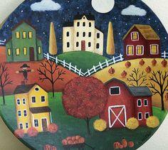 Halloween Folk Art Hand Painted Plate  Fall Landscape