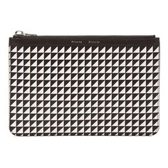 Proenza Schouler Medium Triangle Print Zip Pouch (1,175 PEN) ❤ liked on Polyvore featuring bags, handbags, clutches, purse, genuine leather purse, triangle purse, print handbags and leopard print purse