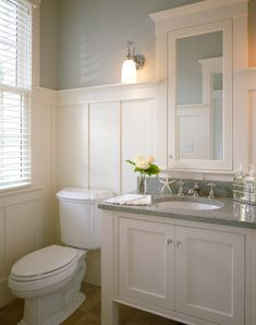 integrated mirror in wainscoting