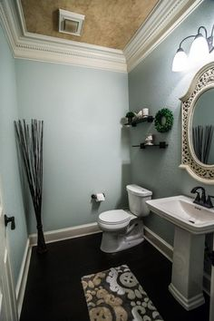 Transitional Powder Room with Hardwood floors, Delta 2551-RBMPU-DST Dryden Centerset Bathroom Faucet, Crown molding