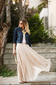 Jean, white, and nude with statement necklace