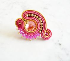 Soutache Ring Handmade Ring Hand Embroidered Ring by LaviBijoux Handmade Rings, Handmade Bracelets, Earrings Handmade, Handmade Jewelry, Soutache Necklace, Swarovski Bracelet, Embroidery Jewelry, Beaded Embroidery, Soutache Tutorial