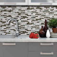 "Peel And Stick Mosaic Decorative Wall Tile In Bellagio Smart Tiles Mosaik Milano Lino Dual Finish 1155"" X 963"" Peel"