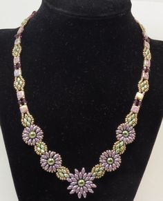 SUPERDUO FLOWER NECKLACE-Czechmate Tiles Opaque Amethyst
