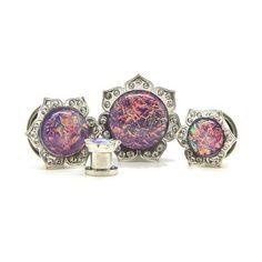 Purple Opal Flower Plug - Custom Flesh Plugs & Gauges, Alternative, Tattoo - Steel Plugs - 1