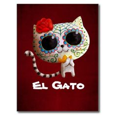 Get your hands on a great customizable Sugar Skull Cat postcard from Zazzle. Sugar Skull Cat, Sugar Skulls, Day Of The Dead Art, Cat Posters, Cat Mouse, Cat Tattoo, Skull Art, Voodoo, Halloween Crafts
