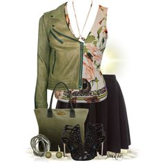 """""""Skater Skirt and Leather Jacket"""" by jackie22 on Polyvore"""