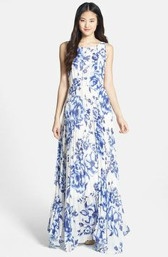 Eliza J Print Pleat Chiffon Maxi Dress (Regular & Petite) available at #Nordstrom