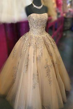 Strapless Gold Long Ball Gown, Sweet 16 Dress, Gold Quinceanera Dress CR 9851 - Sites new Sweet 16 Dresses Gold, Sweet Sixteen Dresses, Gold Prom Dresses, Prom Party Dresses, Gold Dress, 15 Dresses, Wedding Dresses, Gold Quinceanera Dresses, Gold Gown