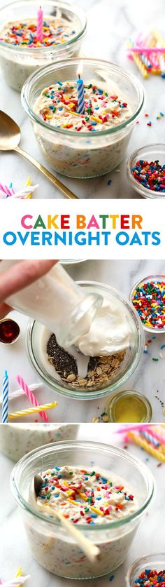 Celebrate your birthday the right way and start off with these HEALTHY Birthday Cake Batter Overnight Oats. They're prepped in less than 5 minutes and packed with healthy ingredients. Sub Greek yogurt for vegan yogurt. Weight Watcher Desserts, Healthy Birthday Cakes, Cake Birthday, Birthday Meals, Birthday Lunch, Low Carb Dessert, Birthday Breakfast, Breakfast Cake, Oatmeal Recipes