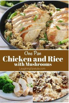 One Pan Creamy Chicken and Rice with Mushrooms is a dish the whole family will love!  Cook the rice and chicken all in the same pan.  #chickenandrice #easychickenandrice #chickenbreastrecipes #skilletchickenandrice #recipeswithmushrooms